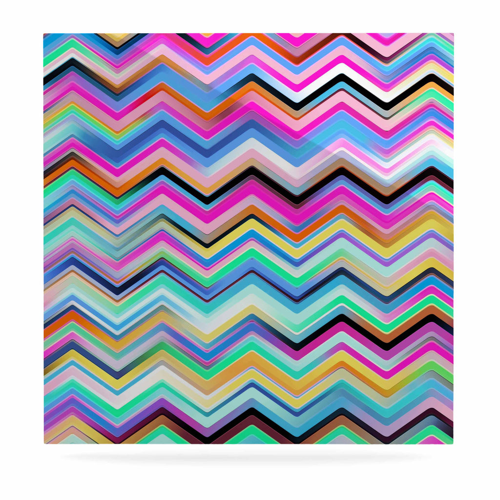 "Dawid Roc ""Colorful Rainbow Chevron"" Multicolor Blue Luxe Square Panel - KESS InHouse  - 1"