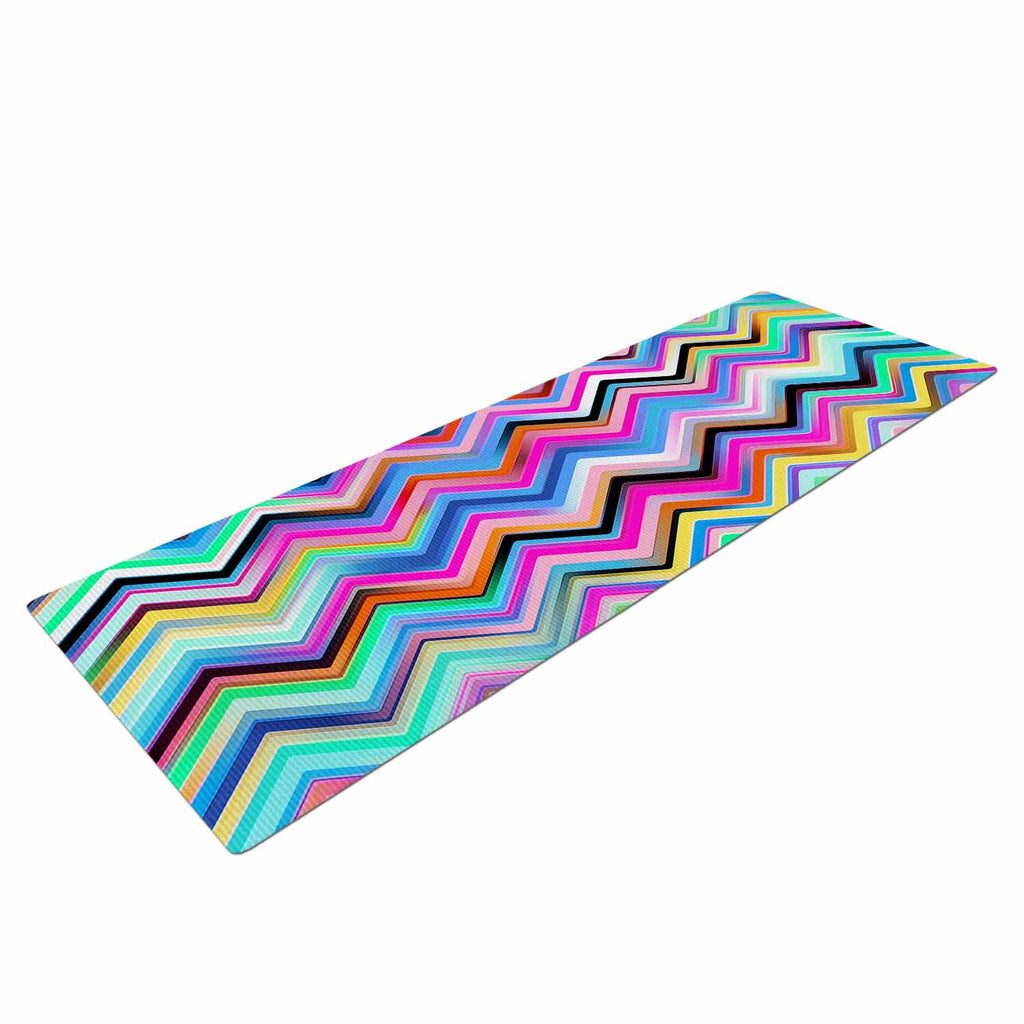 "Dawid Roc ""Colorful Rainbow Chevron"" Multicolor Blue Yoga Mat - KESS InHouse  - 1"
