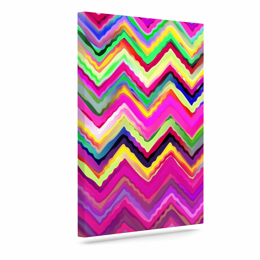 "Dawid Roc ""Colorful Chevron"" Purple Pink Canvas Art - KESS InHouse  - 1"