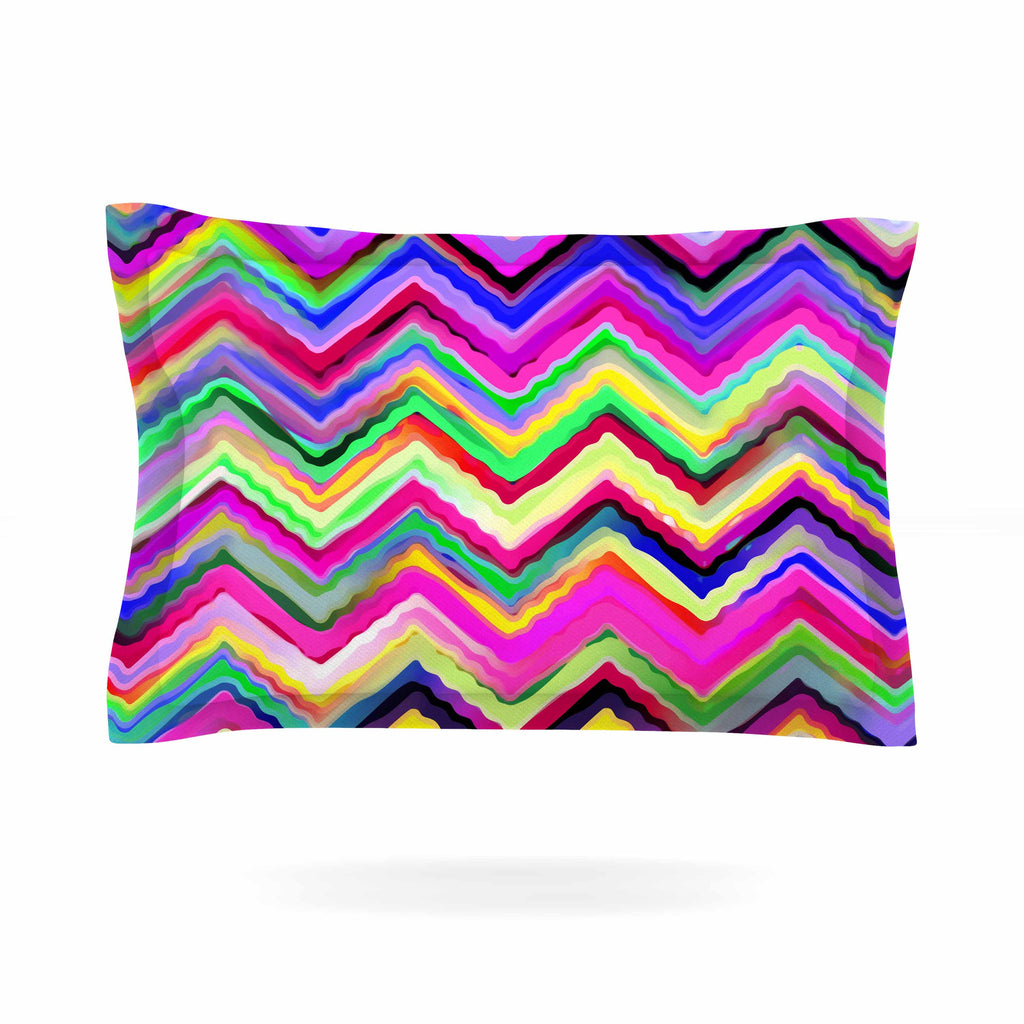 "Dawid Roc ""Colorful Chevron"" Purple Pink Pillow Sham - KESS InHouse  - 1"