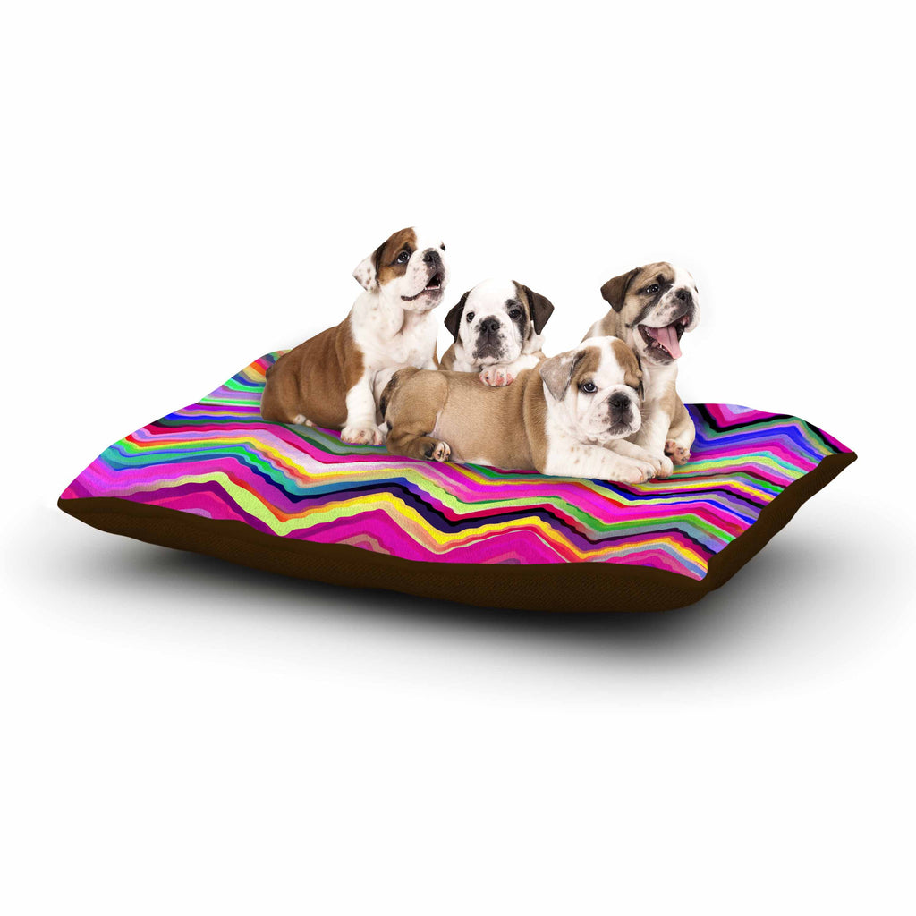 "Dawid Roc ""Colorful Chevron"" Purple Pink Dog Bed - KESS InHouse  - 1"