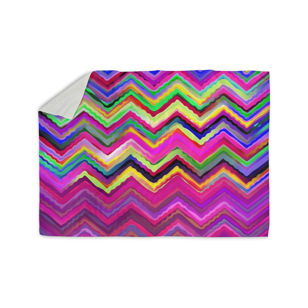 "Dawid Roc ""Colorful Chevron"" Purple Pink Sherpa Blanket - KESS InHouse  - 1"