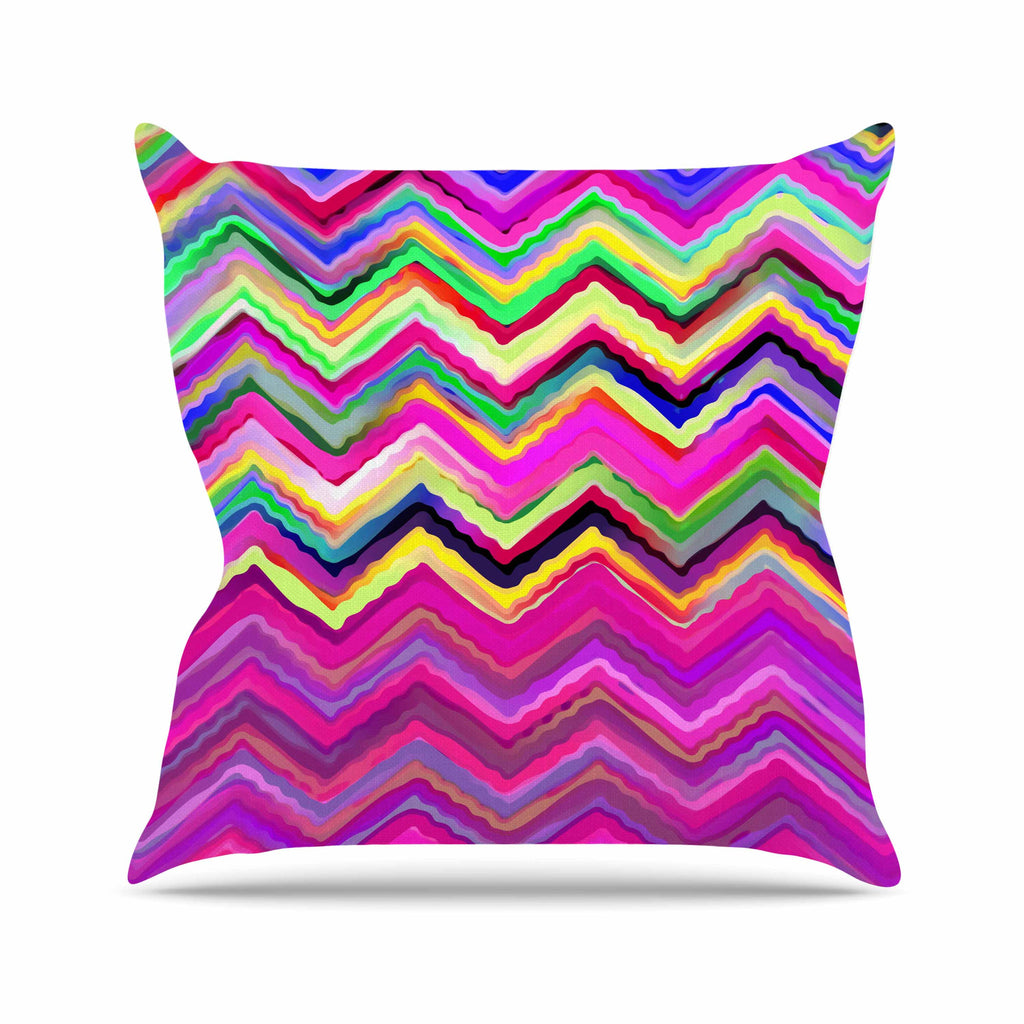 "Dawid Roc ""Colorful Chevron"" Purple Pink Outdoor Throw Pillow - KESS InHouse  - 1"