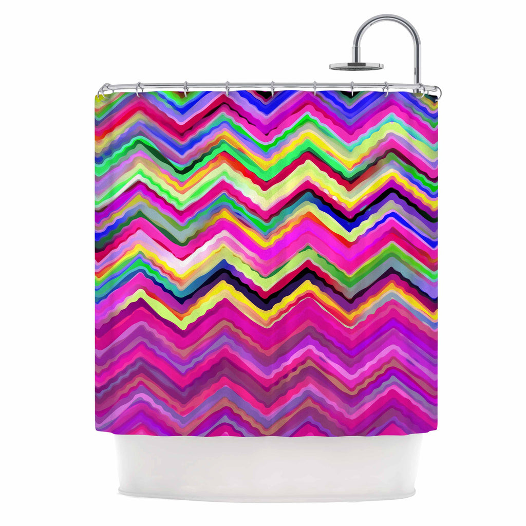 "Dawid Roc ""Colorful Chevron"" Purple Pink Shower Curtain - KESS InHouse"