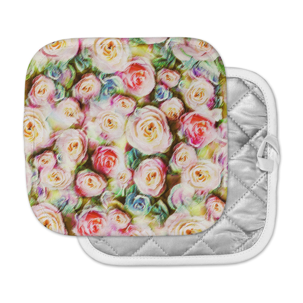 "Dawid Roc ""Pastel Rose Romantic Gifts"" Green Photography Pot Holder"