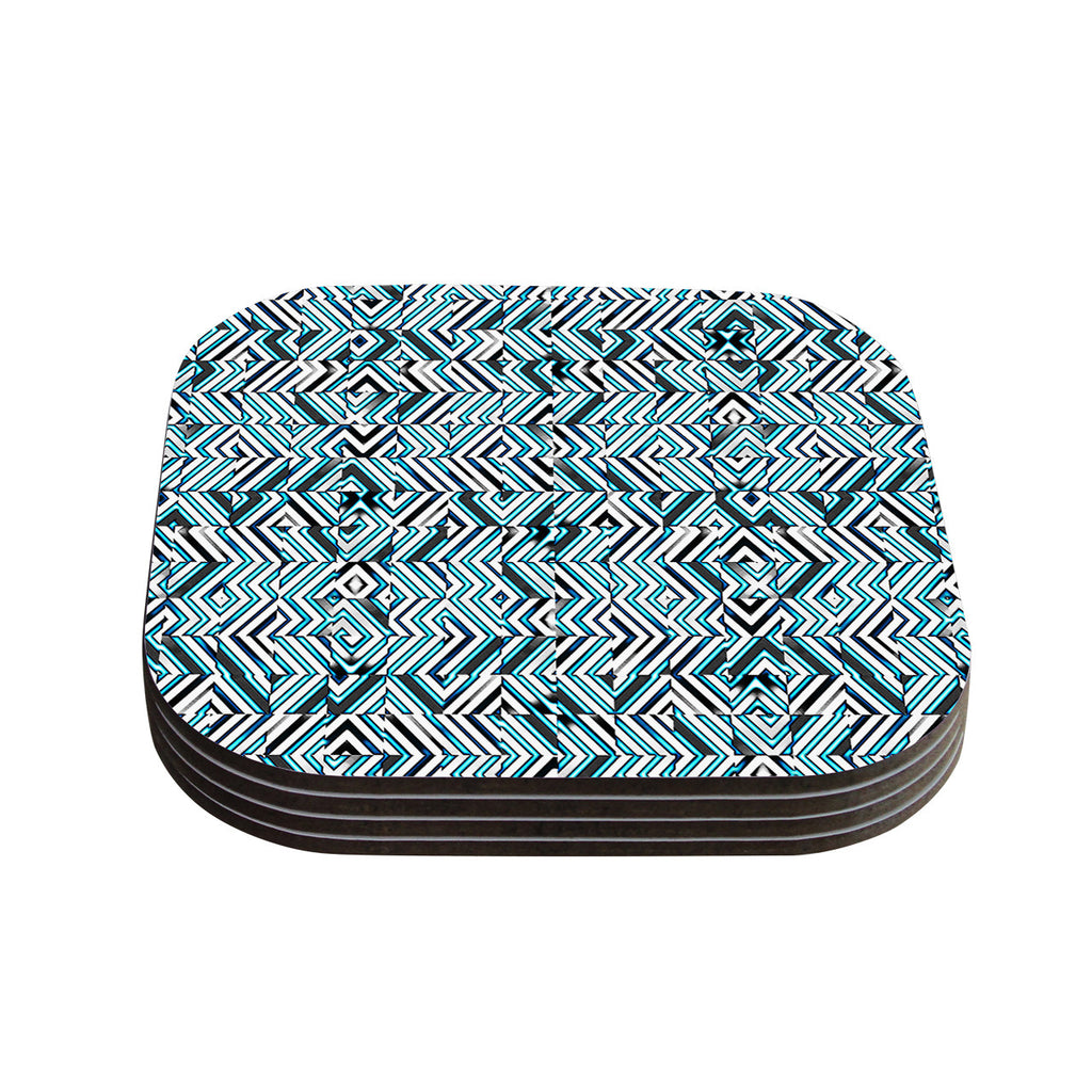 "Dawid Roc ""Maze Geometric Abstract 2"" Teal Pattern Coasters (Set of 4)"
