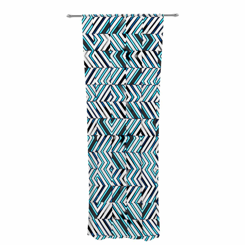 "Dawid Roc ""Maze Geometric Abstract 2"" Teal Pattern Decorative Sheer Curtain - KESS InHouse  - 1"