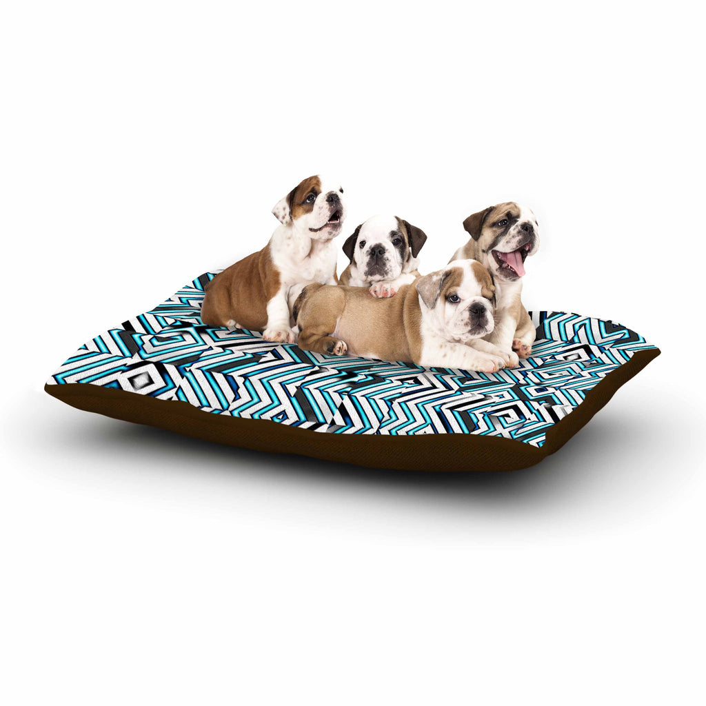 "Dawid Roc ""Maze Geometric Abstract 2"" Teal Pattern Dog Bed - KESS InHouse  - 1"