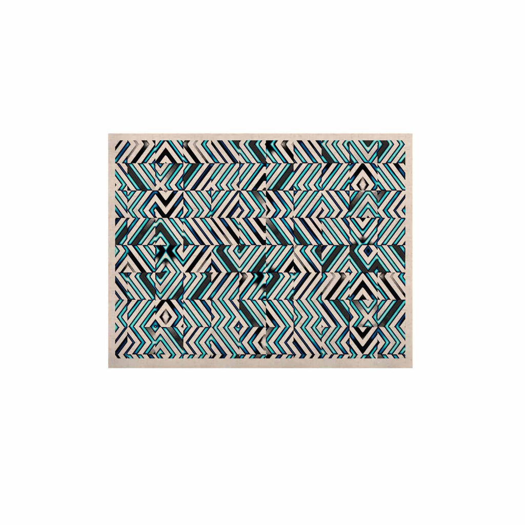 "Dawid Roc ""Maze Geometric Abstract 2"" Teal Pattern KESS Naturals Canvas (Frame not Included) - KESS InHouse  - 1"