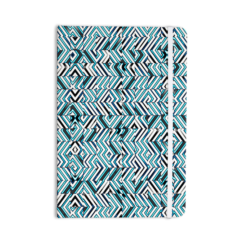 "Dawid Roc ""Maze Geometric Abstract 2"" Teal Pattern Everything Notebook - KESS InHouse  - 1"