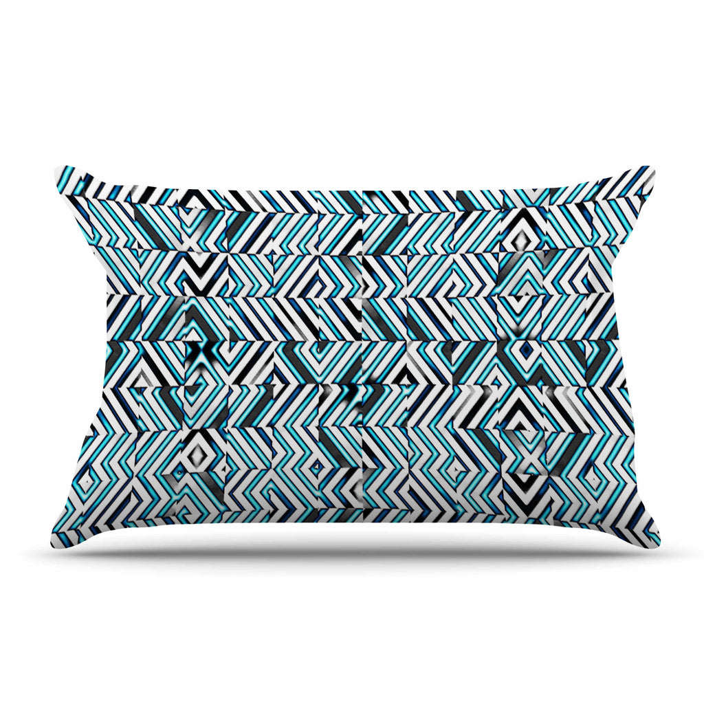 "Dawid Roc ""Maze Geometric Abstract 2"" Teal Pattern Pillow Sham - KESS InHouse  - 1"