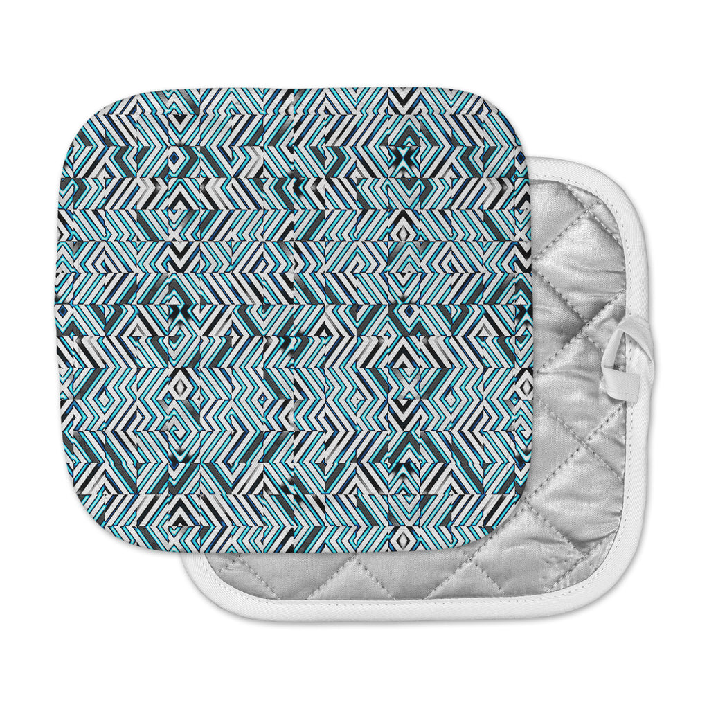 "Dawid Roc ""Maze Geometric Abstract 2"" Teal Pattern Pot Holder"