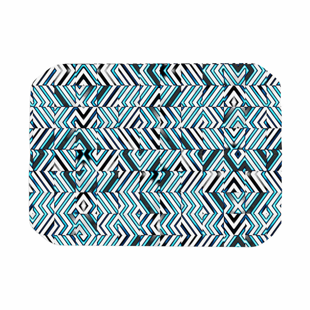 "Dawid Roc ""Maze Geometric Abstract 2"" Teal Pattern Place Mat - KESS InHouse"