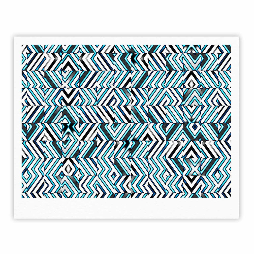"Dawid Roc ""Maze Geometric Abstract 2"" Teal Pattern Fine Art Gallery Print - KESS InHouse"