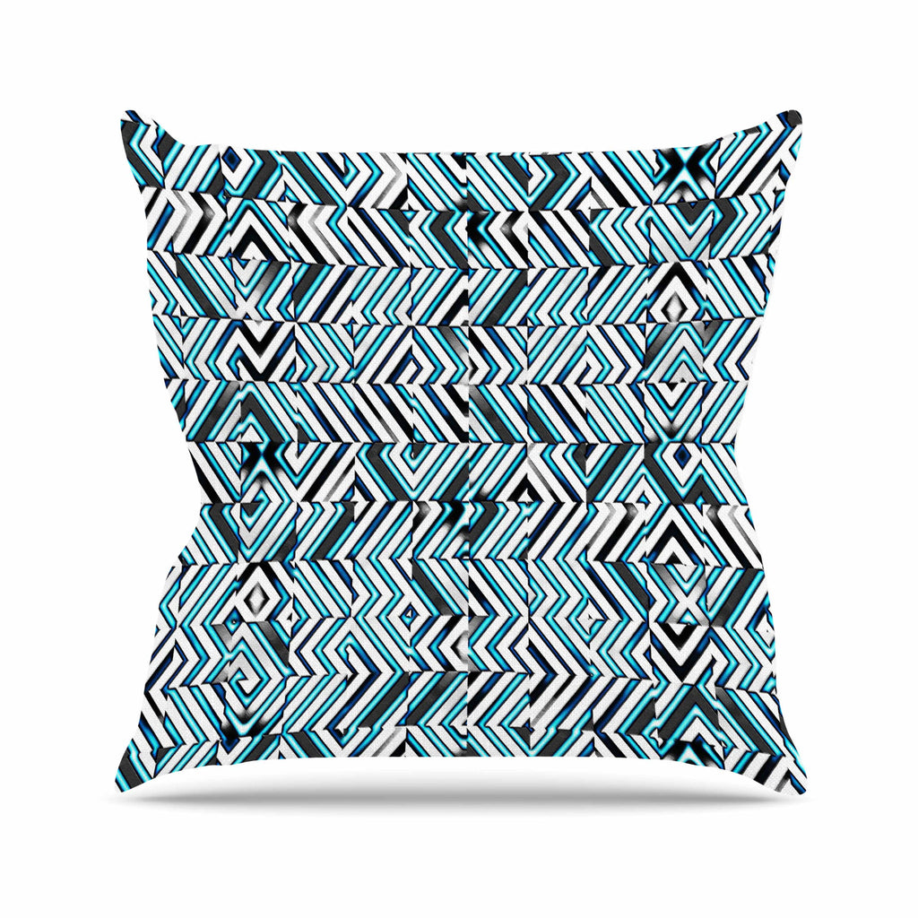 "Dawid Roc ""Maze Geometric Abstract 2"" Teal Pattern Outdoor Throw Pillow - KESS InHouse  - 1"