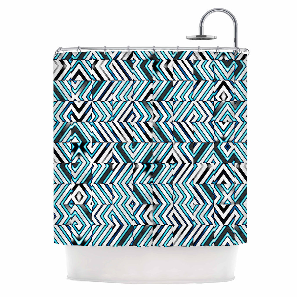 "Dawid Roc ""Maze Geometric Abstract 2"" Teal Pattern Shower Curtain - KESS InHouse"
