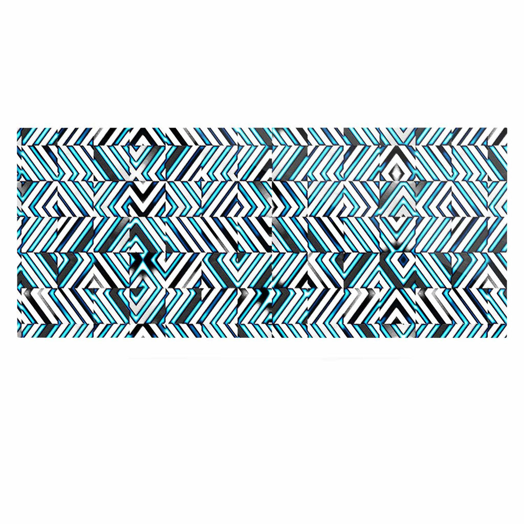 "Dawid Roc ""Maze Geometric Abstract 2"" Teal Pattern Luxe Rectangle Panel - KESS InHouse  - 1"