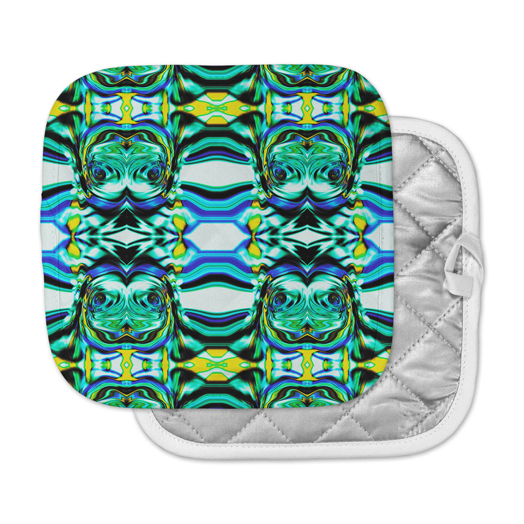 "Dawid Roc ""Inspired By Psychedelic Art 5"" Blue Abstract Pot Holder"