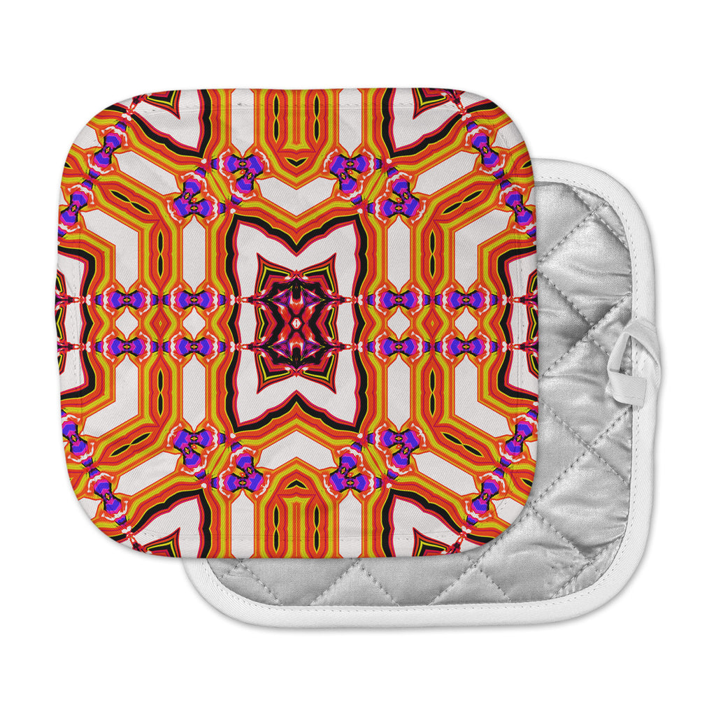 "Dawid Roc ""Inspired By Psychedelic Art 4"" Orange Abstract Pot Holder"