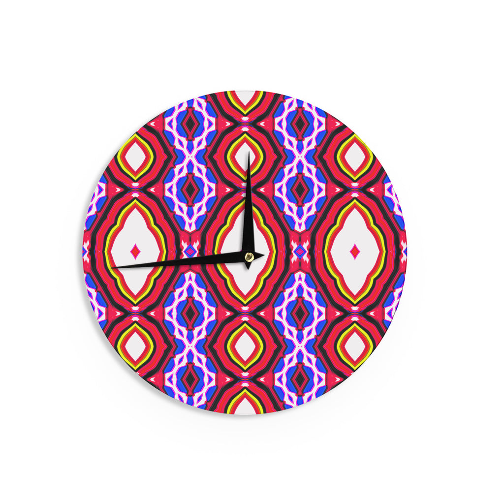 "Dawid Roc ""Inspired By Psychedelic Art 2""  Red Abstract Wall Clock - KESS InHouse"
