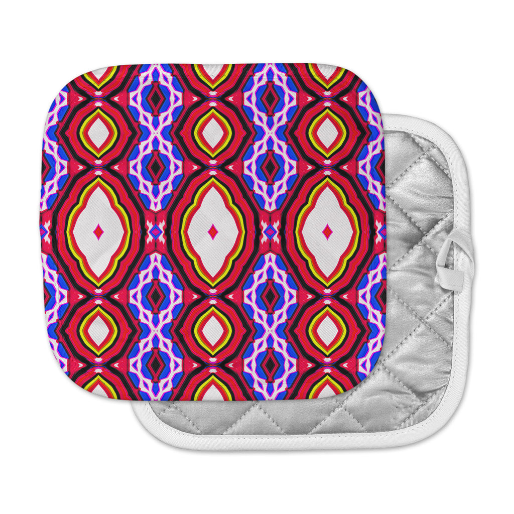 "Dawid Roc ""Inspired By Psychedelic Art 2""  Red Abstract Pot Holder"