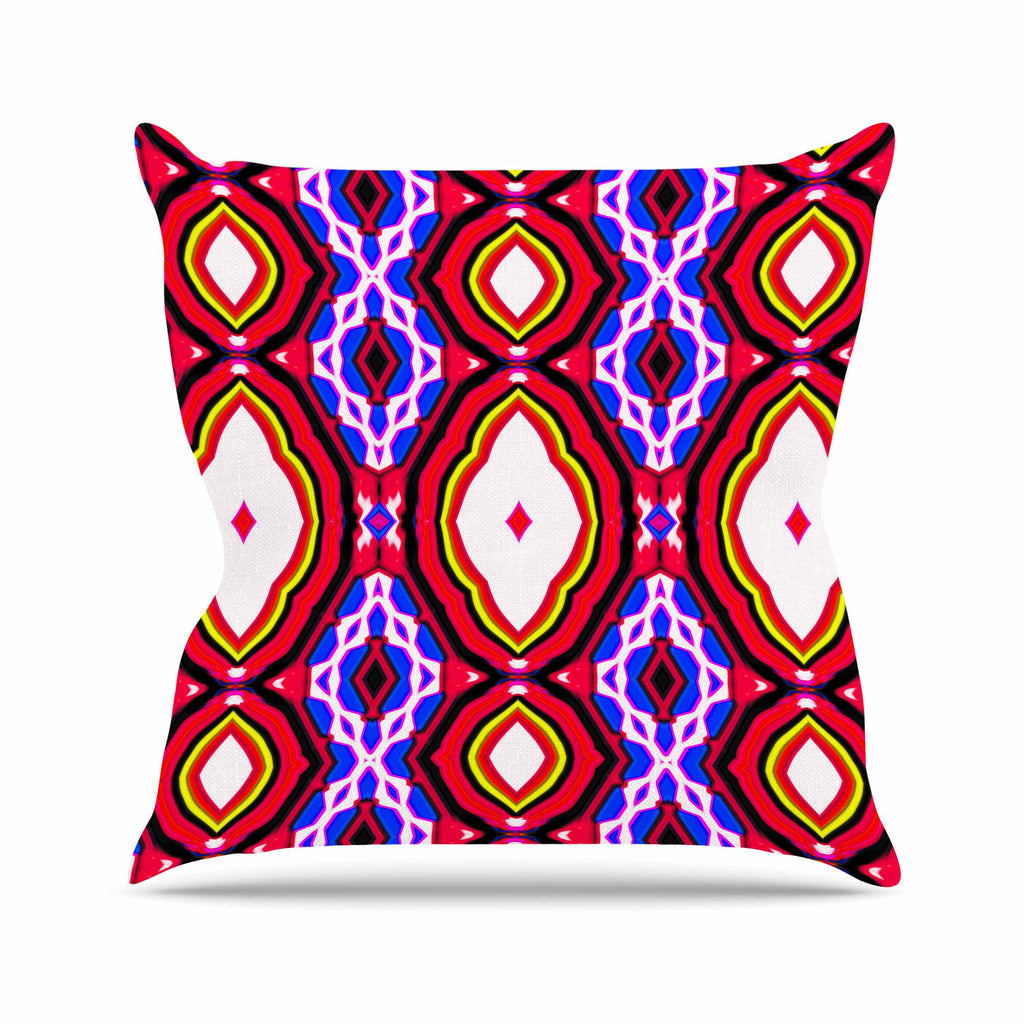 "Dawid Roc ""Inspired By Psychedelic Art 2""  Red Abstract Outdoor Throw Pillow - KESS InHouse  - 1"