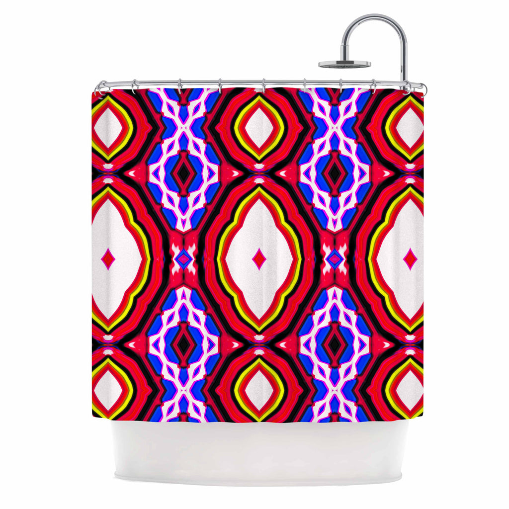 "Dawid Roc ""Inspired By Psychedelic Art 2""  Red Abstract Shower Curtain - KESS InHouse"