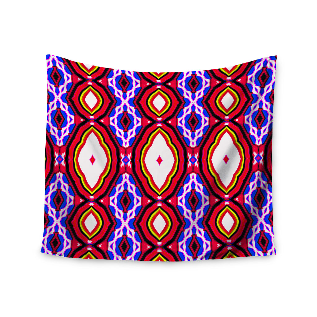 "Dawid Roc ""Inspired By Psychedelic Art 2""  Red Abstract Wall Tapestry - KESS InHouse  - 1"