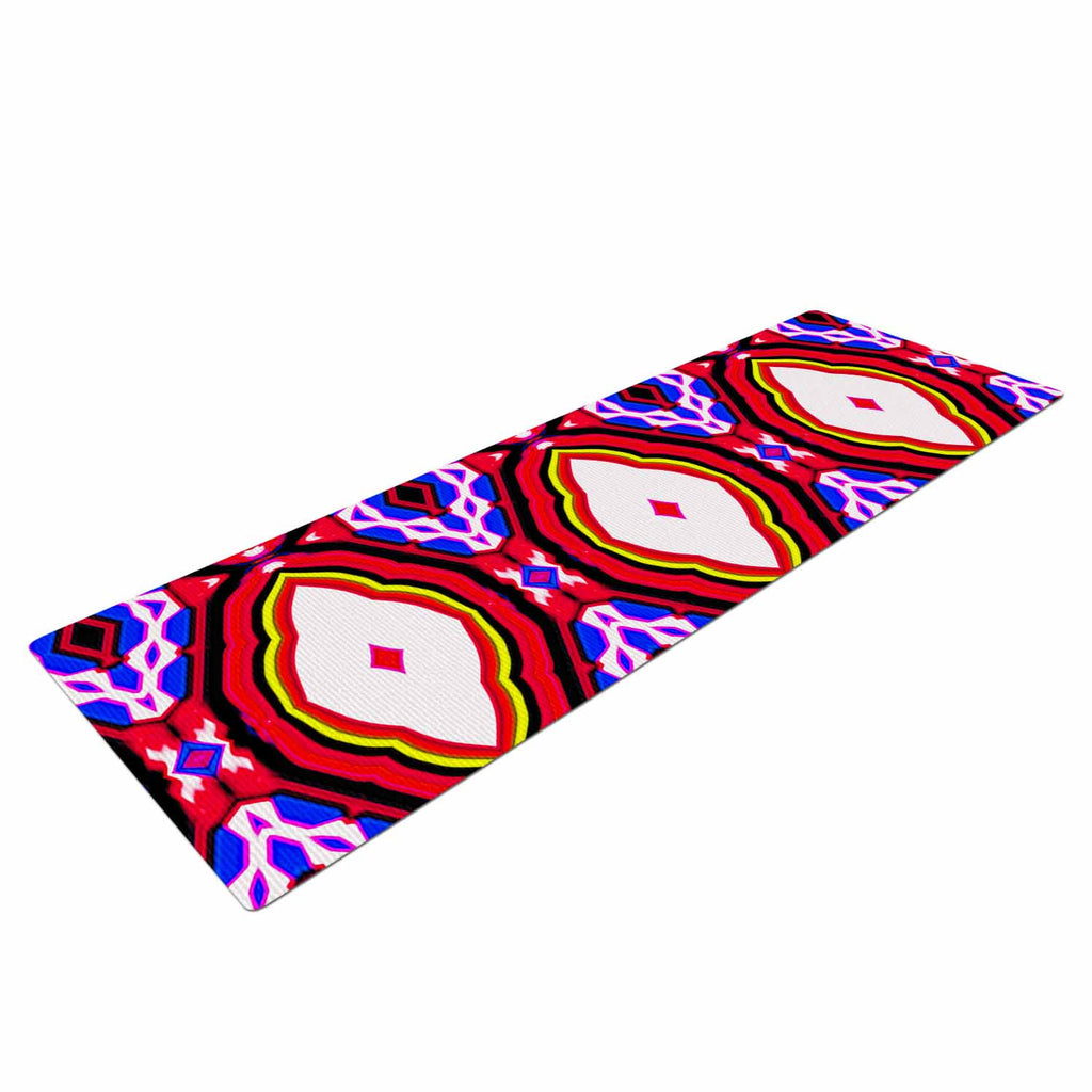 "Dawid Roc ""Inspired By Psychedelic Art 2""  Red Abstract Yoga Mat - KESS InHouse  - 1"