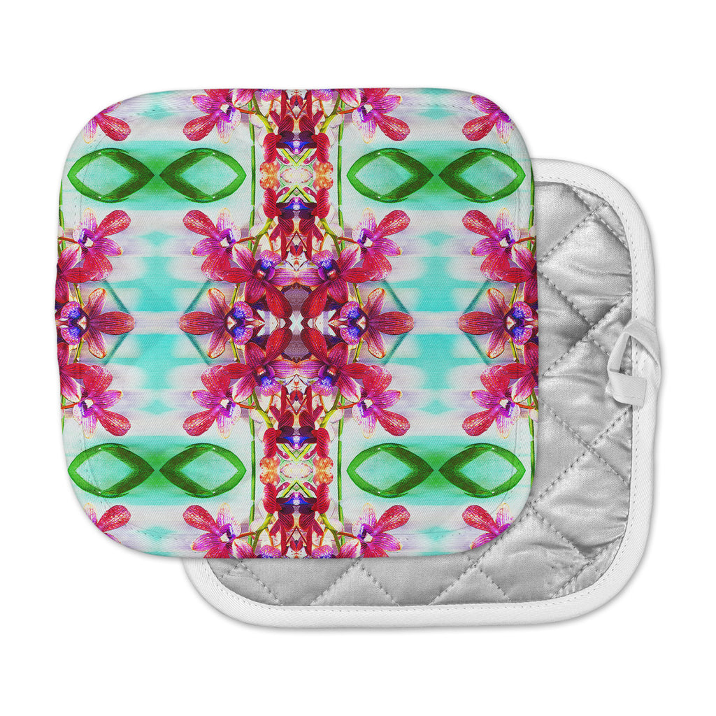 "Dawid Roc ""Tropical Floral Orchids 2"" Pink Floral Pot Holder"