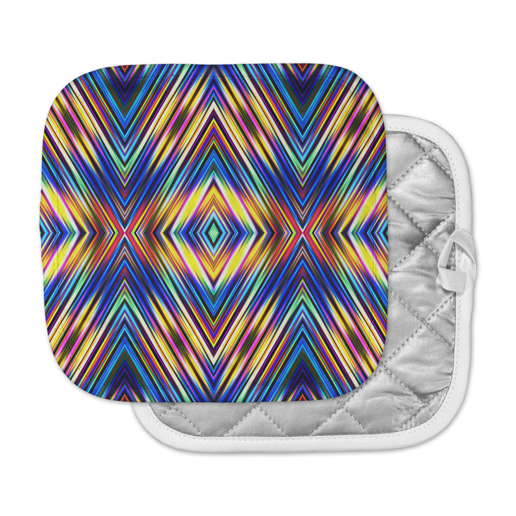 "Dawid Roc ""Multi Colors Modern Tribal"" Multicolor Tribal Pot Holder"