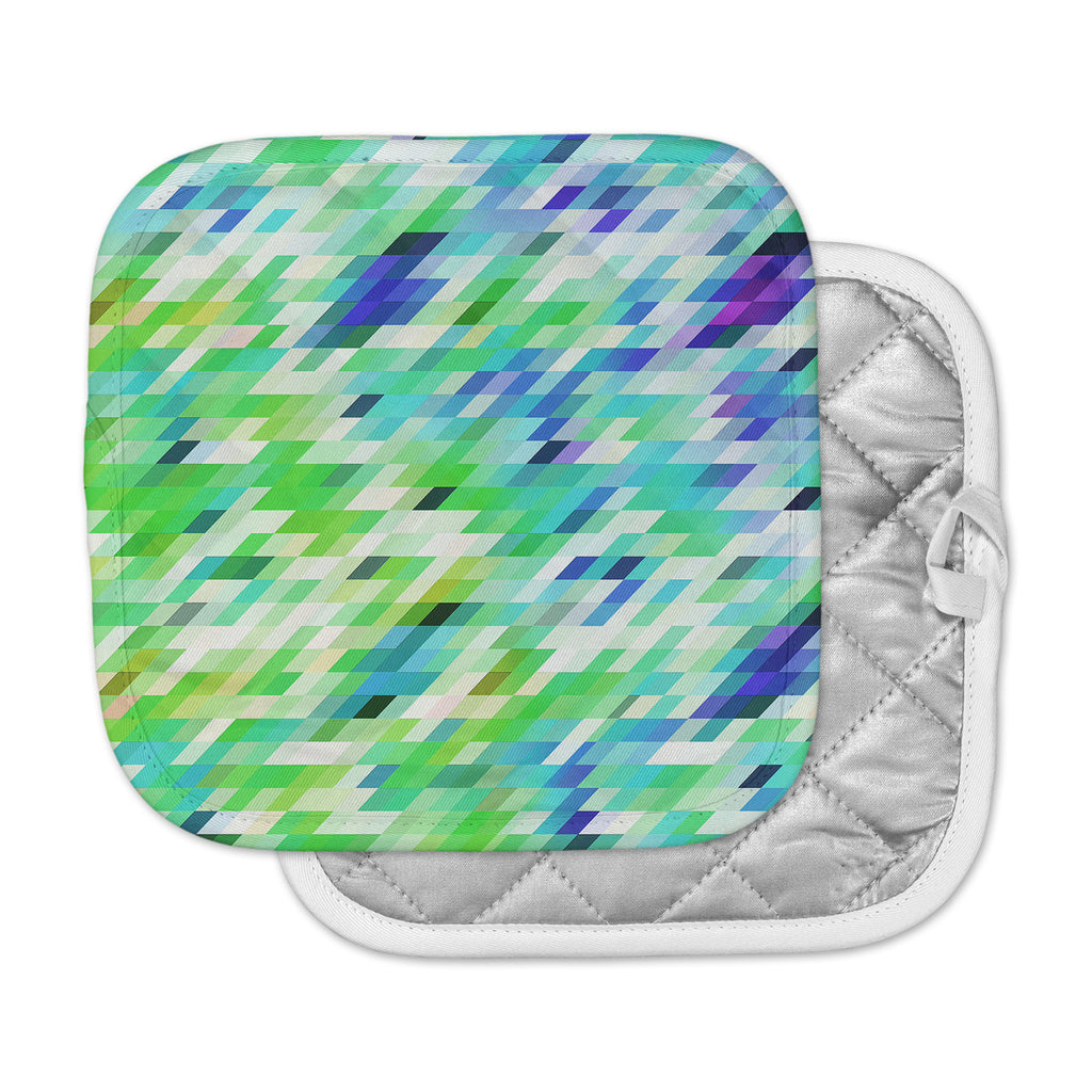 "Dawid Roc ""Colorful Summer Geometric"" Green Abstract Pot Holder"