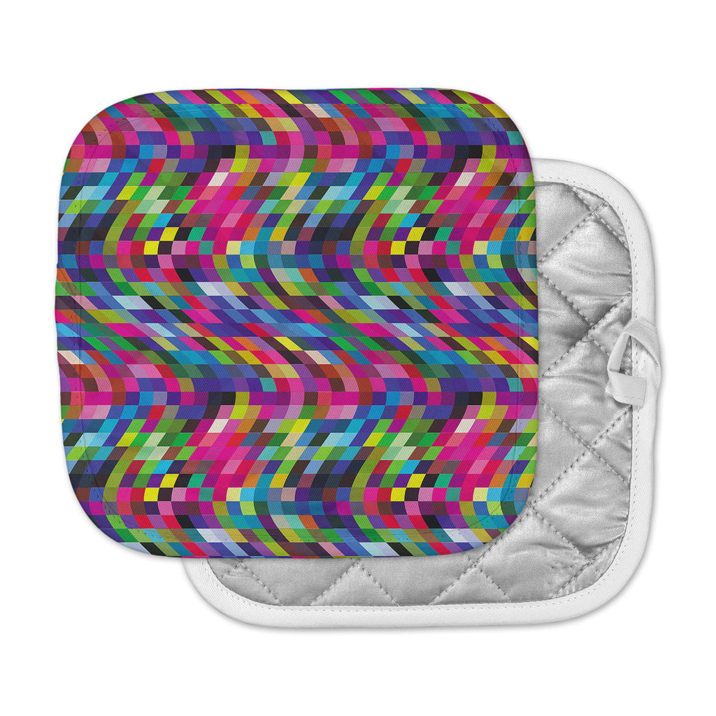 "Dawid Roc ""Colorful Geometric Movement 1"" Multicolor Abstract Pot Holder"