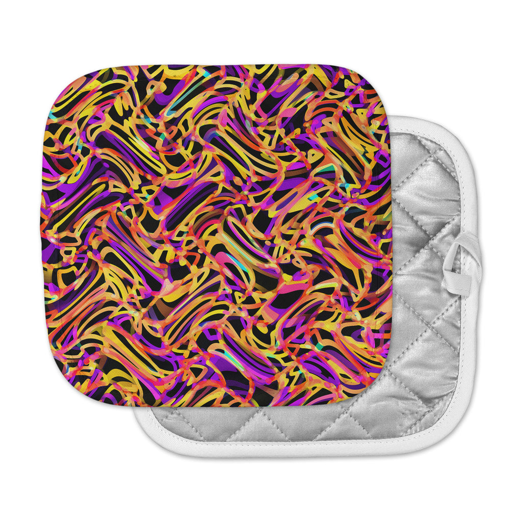 "Dawid Roc ""Camouflage FreeForm Movement 2"" Orange Digital Pot Holder"
