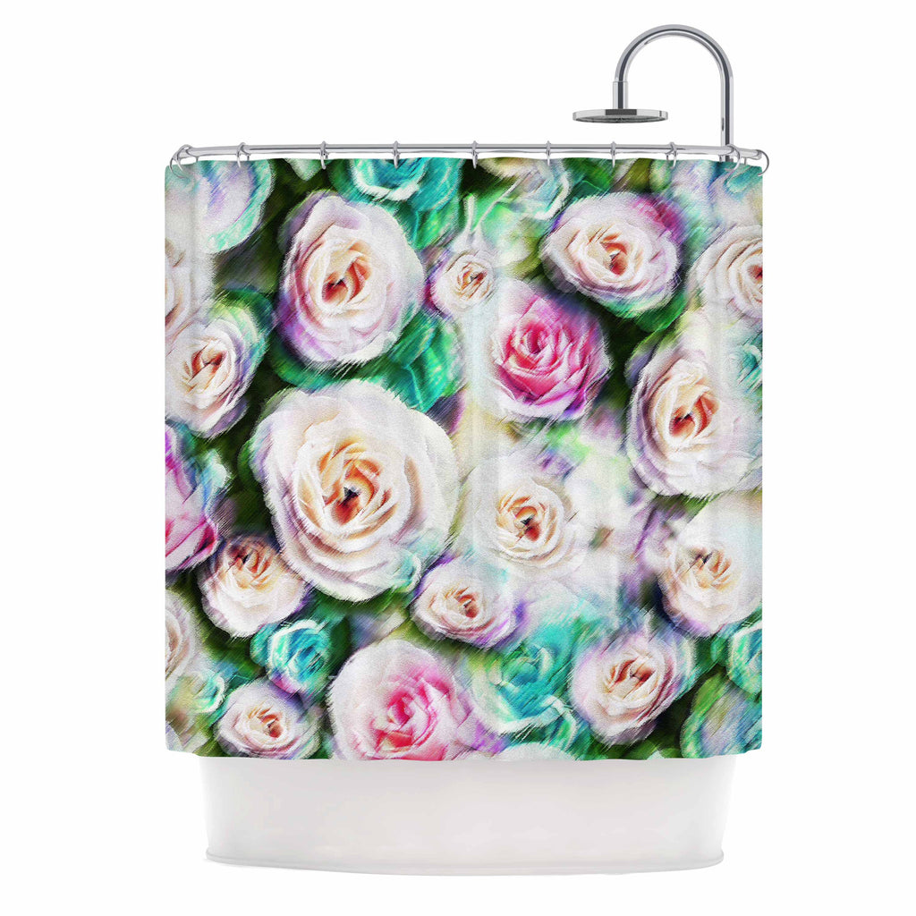 Dawid Roc Bright Rose Floral Abstract Green Shower Curtain