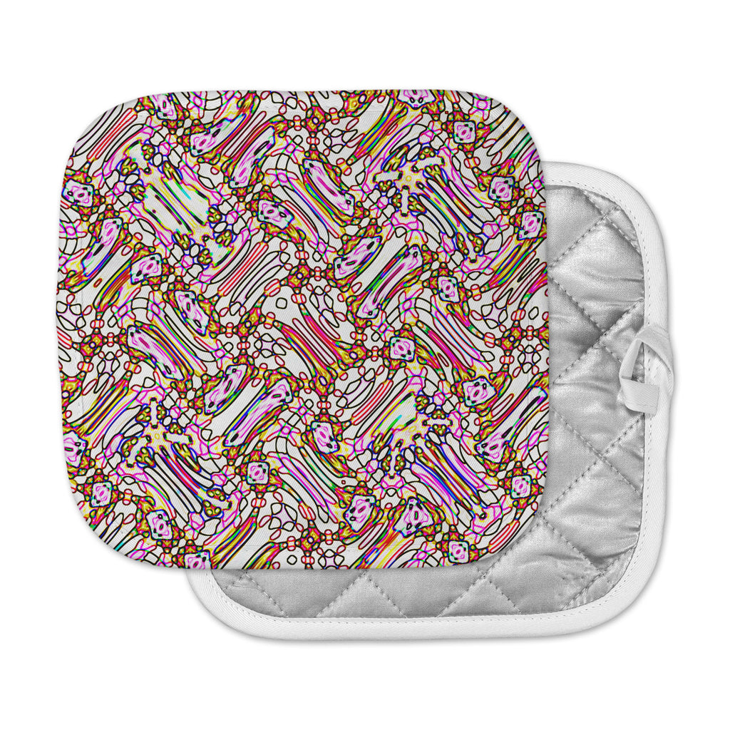 "Dawid Roc ""Camouflage Pattern 3 "" Pink Yellow Pot Holder"