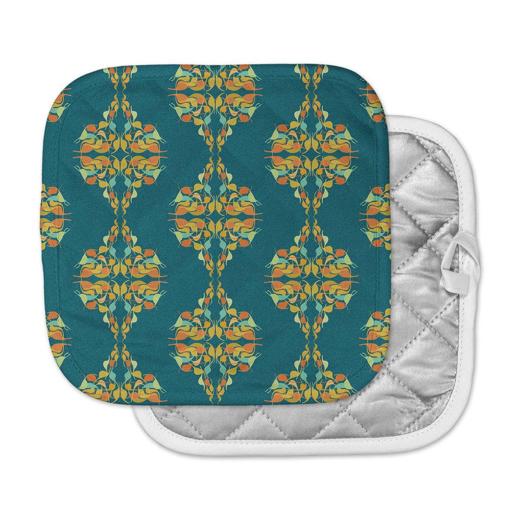 "Dan Sekanwagi ""Turquoise Feast"" Teal Orange Pot Holder"