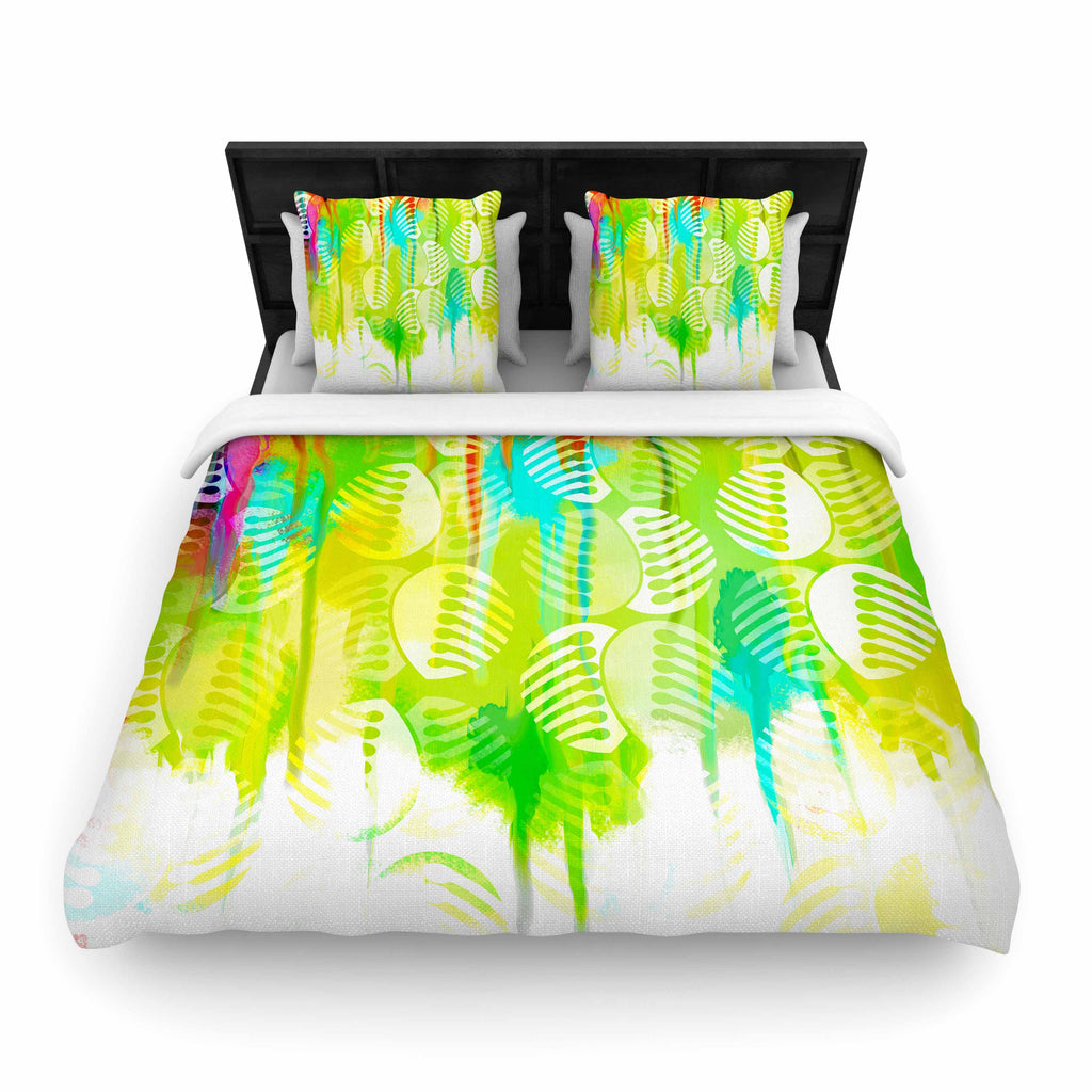 "Dan Sekanwagi ""Poddy Combs - Wet Paint"" Green Yellow Woven Duvet Cover - KESS InHouse  - 1"