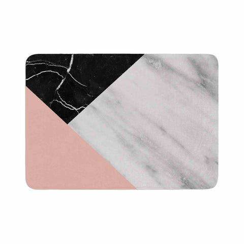 "Cafelab ""Marble Collage With Pale Pink ""  Gray Pink Memory Foam Bath Mat - KESS InHouse"