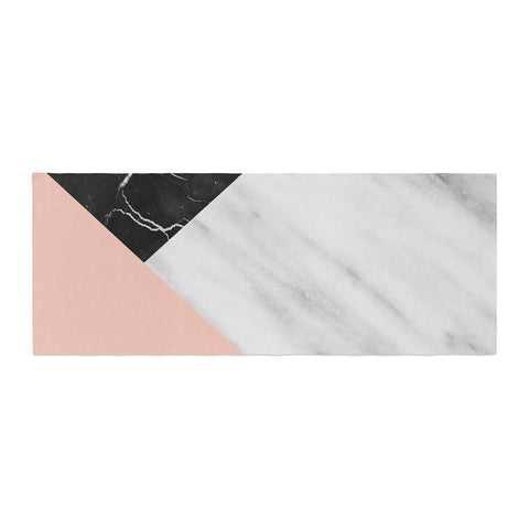 "Cafelab ""Marble Collage With Pale Pink ""  Gray Pink Bed Runner - KESS InHouse"