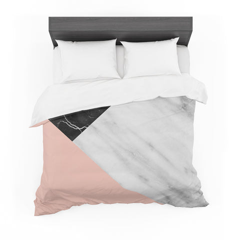 "Cafelab ""Marble Collage With Pale Pink ""  Gray Pink Featherweight Duvet Cover"