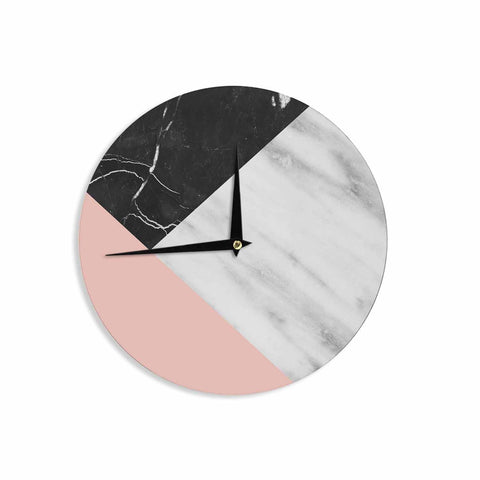 "Cafelab ""Marble Collage With Pale Pink ""  Gray Pink Wall Clock - KESS InHouse"