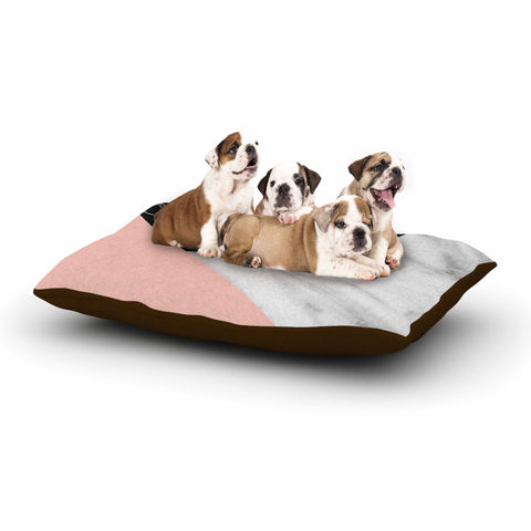 "Cafelab ""Marble Collage With Pale Pink ""  Gray Pink Dog Bed - KESS InHouse  - 1"