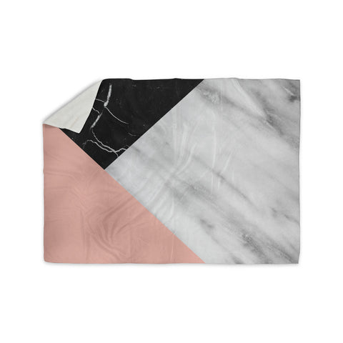 "Cafelab ""Marble Collage With Pale Pink ""  Gray Pink Sherpa Blanket - KESS InHouse  - 1"