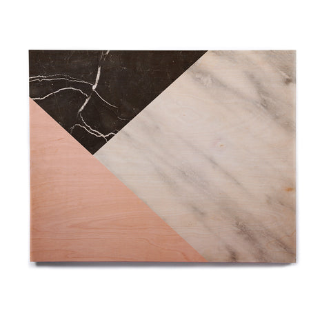"Cafelab ""Marble Collage With Pale Pink ""  Gray Pink Birchwood Wall Art - KESS InHouse  - 1"