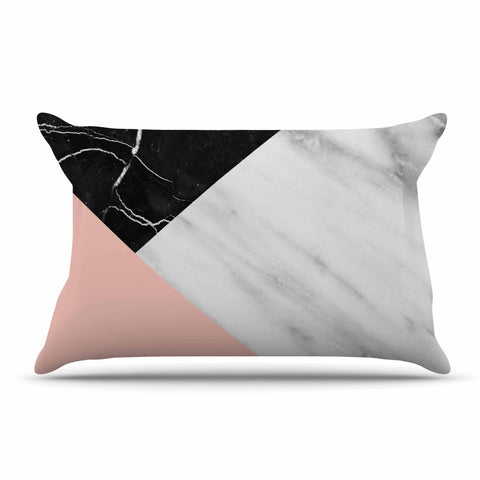 "Cafelab ""Marble Collage With Pale Pink ""  Gray Pink Pillow Sham - KESS InHouse  - 1"