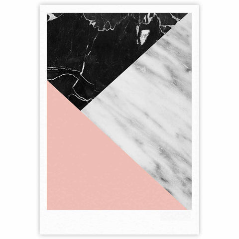 "Cafelab ""Marble Collage With Pale Pink ""  Gray Pink Fine Art Gallery Print - KESS InHouse"