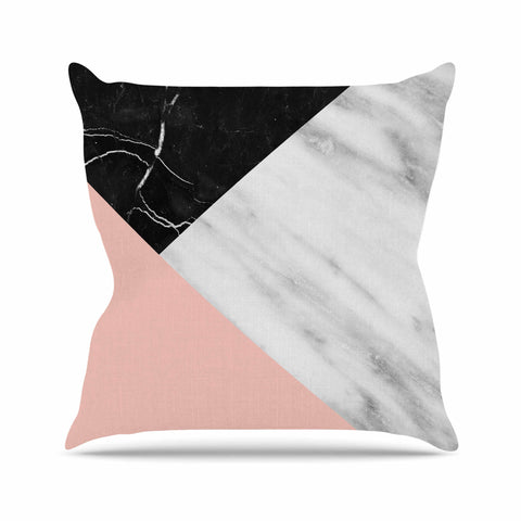"Cafelab ""Marble Collage With Pale Pink ""  Gray Pink Outdoor Throw Pillow - KESS InHouse  - 1"
