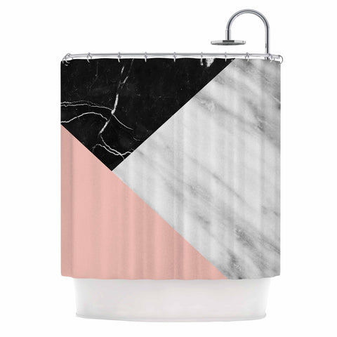 "Cafelab ""Marble Collage With Pale Pink ""  Gray Pink Shower Curtain - KESS InHouse"