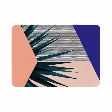 "Cafelab ""Summer Geometry "" Blue Coral Memory Foam Bath Mat - KESS InHouse"
